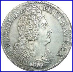 U6386 Rare R2 Ecu Louis XIV 3 couronnes 1710 K Bordeaux Silver Superbe