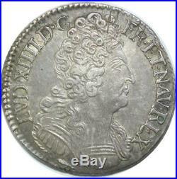 U6391 Rare R2 1/2 Ecu Louis XIV 3 couronnes 1713 P Dijon Silver Qualité