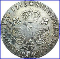 U6407 Rare 1/10 Ecu Louis XIV 3 couronnes 1715 N Montpellier Silver TTB+